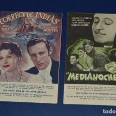 Cine: LOTE DE 2 POSTALES ANTIGUAS SIN CIRCULAR - PELÍCULAS - MEDIANOCHE - CORREO DE INDIAS - ¡HAZ OFERTA!. Lote 85428980