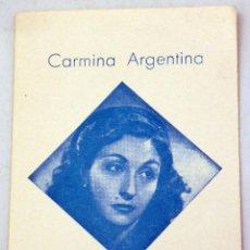 Cine: TARJETA PROMOCIÓN CARMINA ARGENTINA SUPERVEDETTE HISPANOAMERICANA AÑOS 50. Lote 91260435