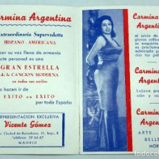 Cine: TARJETA PROMOCIÓN CARMINA ARGENTINA SUPERVEDETTE HISPANOAMERICANA AÑOS 50. Lote 91261485