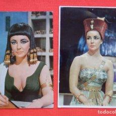 Cine: ELISABETH TAYLOR CLEOPATRA, 2 POSTALES, 1 ARCHIVO BERMEJO AÑO 1964,LA OTRA IMPRESA EN ITALIA. Lote 92926925