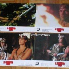 Cine: LOTE 4 FOTOCROMOS ORIGINAL 1985 EL GUERRERO ROJO ARNOLD SCHWARZENEGGER BRIGITTE NIELSEN LOBBY CARDS . Lote 96177515