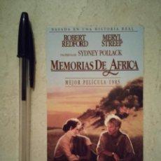 Cine: TARJETA ORIGINAL -8*15- MEMORIAS DE AFRICA - ROBERT REDFORD - ARCHIVO - MERYL STREEP. Lote 101112104