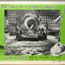 Cine: LCJ 1264 TRES LANCEROS BENGALIES GARY COOPER LOBBY CARD ORIGINAL AMERICANO. Lote 104177763