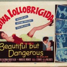 Cine: LCJ 1270 LA MUJER MAS GUAPA DEL MUNDO GINA LOLLOBRIGIDA GASSMAN TITLE LOBBY CARD ORIGINAL AMERICANO. Lote 104179263