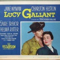 Cine: LCJ 1272 ORGULLO CONTRA ORGULLO CHARLTON HESTON JANE WYMAN LOBBY CARD ORIGINAL AMERICANO. Lote 104179567