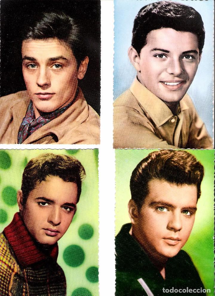 LOTE DE 4 POSTALES ORIGINALES A COLOR DE LOS AÑOS 60 (Cine - Fotos y Postales de Actores y Actrices)