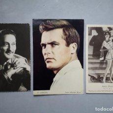 Cine: LOTE DE 3 POSTALES ANTIGUAS DE ACTORES. WARREN WILLIAM. TY HARDIN. ANITA PAGE.. Lote 108931623