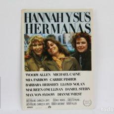 Cine: POSTAL/TARJETA PUBLICITARIA DE CINE - HANNAH Y SUS HERMANAS - WOODY ALLEN, MIA FARROW - LAUREN FILMS. Lote 109364231