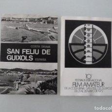 Cine: INTERESANTE LOTE 2 POSTALES ORIGINALES ANTIGUAS FESTIVAL DE CINE DE SANT FELIU DE GUIXOLS 1972. Lote 112887959