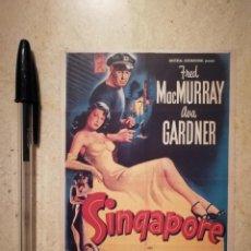 Cine: TARJETA PAPEL -10*15- SINGAPUR - AVA GARDNER - ALBUM. Lote 115043675