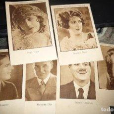 Cine: ARTISTAS EMINENTES CINEMATOGRAFOS,6 FOTOCROMOS,PUBLICIDAD CALZADOS HOYO, VALENCIA. Lote 116243259