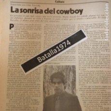 Cine: ENTREVISTA A JOHN TRAVOLTA - AÑO 1980. Lote 117438891