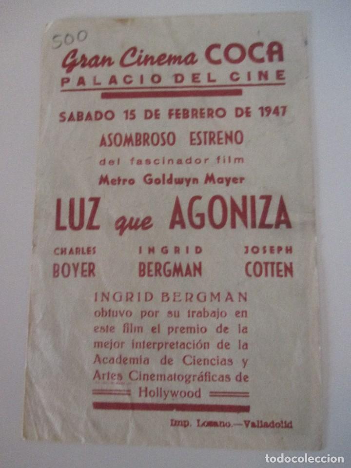 Cine: Octavilla Luz que agoniza Gran Cinema Coca Valladolid 1947 Charles Boyer Ingrid Bergman JosephCotten - Foto 2 - 117676855