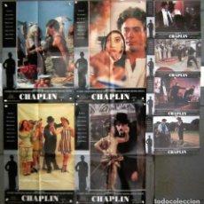 Cine: YQ77 CHAPLIN CHARLES CHAPLIN ROBERT DOWNEY JR ANTHONY HOPKINS SET COMPLETO 8 FOTOCROMOS ORIG ESTRENO. Lote 122464543