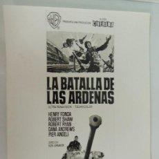 Cinéma: LA BATALLA DE LAS ARDENAS - FOTO ORIGINAL B/N - BATTLE OF THE BULGE 2ª GUERRA MUNDIAL HENRY FONDA. Lote 129997275
