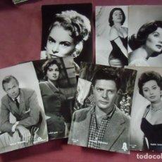Cine: CINE. LOTE 7 POSTALES ACTORES/ACTRICES, AÑOS 60,ED. BALLERINI EN BRILLO.. Lote 130859544