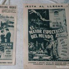 Cine: GUERRA Y PAZ / EL MAYOR ESPECTÁCULO DEL MUNDO. FOTO RECORTES (GARBO CIRCA 1962). Lote 134350074