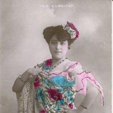 Cine: CUPLETISTA -LA CURRITA- 1910-FOTOGRÁFICA CON PURPURINA- RARA. Lote 134741974