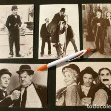 Cine: 5 POSTALES CINE ANTIGUO - POSTALES 10,5X15 CM - CHARLES CHAPLIN, HERMANOS MARX, EL GORDO Y EL FLACO. Lote 135714759