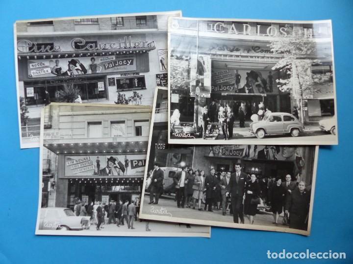 4 FOTOS DE CINES ESTRENANDO LA PELICULA PAL JOEY, FRANK SINATRA, RITA HAYWORTH, KIM NOVAK -AÑOS 1960 (Cine - Fotos, Fotocromos y Postales de Películas)