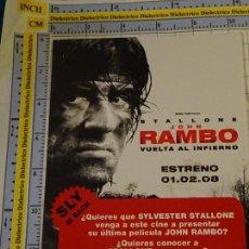 Cine: TARJETA PUBLICITARIA DE CINE. PELÍCULA. STALLONE JOHN RAMBO VUELTA AL INFIERNO. SLY IS BACK. 346. Lote 142187294