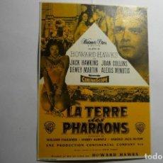 Cine: TARJETA CARTEL EXTRANJERO TIERRA DE FARAONES - JACK HAWKINS. Lote 143747166