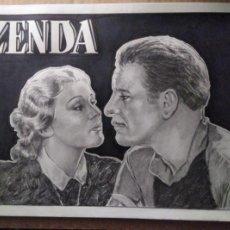 Cine: ZENDA - ORIGINAL A LAPIZ GRAFITO. FIRMADO. 42 X 30CM.(A3). Lote 144105122