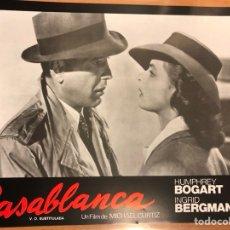 Cine: CARTEL FOTOCROMO CASABLANCA HUMPHREY BOGART INGRID BERGMAN 33X24 CM. Lote 145865282