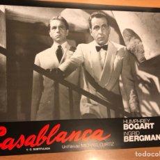 Cine: CARTEL FOTOCROMO CASABLANCA HUMPHREY BOGART INGRID BERGMAN 33X24 CM. Lote 145865300