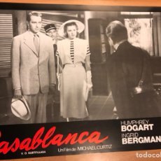 Cine: CARTEL FOTOCROMO CASABLANCA HUMPHREY BOGART INGRID BERGMAN 33X24 CM. Lote 145865314