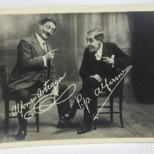 Antigua Postal Fotográfica - Actores Alfonso Arteaga y P.P. Alfonso Nº 51 Teatro Actores catalanes