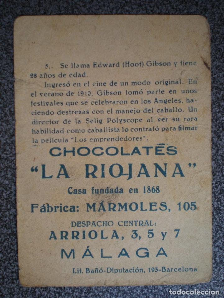 Cine: CROMO ANTIGUO DE CINE HOOT GIBSON CON PUBLICIDAD MÁLAGA CHCOLATES LA RIOJANA - Foto 2 - 148961169