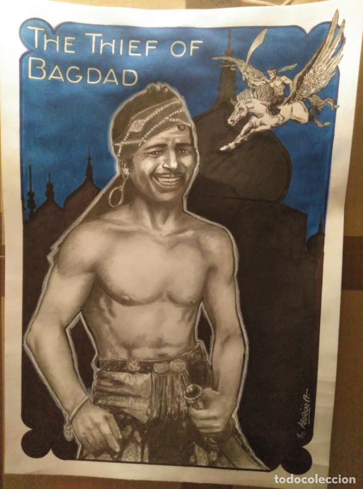 EL LADRÓN DE BAGDAD - DIBUJO ORIGINAL FIRMADO. 42 X 30CM (A3) (Cine - Fotos y Postales de Actores y Actrices)