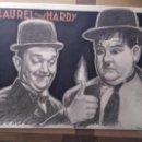 Cine: LAUREL Y HARDY - DIBUJO ORIGINAL FIRMADO (POSIBILIDAD DE DEDICATORIA). A3.. Lote 151171530