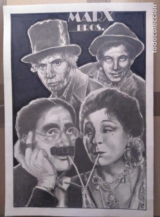 MARX BROS. - DIBUJO ORIGINAL A LAPIZ, FIRMADO. 42 X 30CM (A3) (Cine - Fotos y Postales de Actores y Actrices)