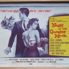 Cine: ZH41 NIGHT OF THE QUARTER MOON JULIE LONDON FOTOCROMO LOBBY TITLE CARD ORIGINAL AMERICANO. Lote 154015246