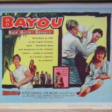 Cine: ZI55 BAYOU PETER GRAVES LITA MILAN FOTOCROMO LOBBY TITLE CARD ORIGINAL AMERICANO. Lote 154180230