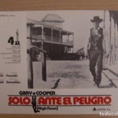 Cinema: SOLO ANTE EL PELIGRO / GARY COOPER / GRACE KELLY / JUEGO COMPLETO ORIGINAL 12 FOTOCROMOS REESTRENO. Lote 159297714