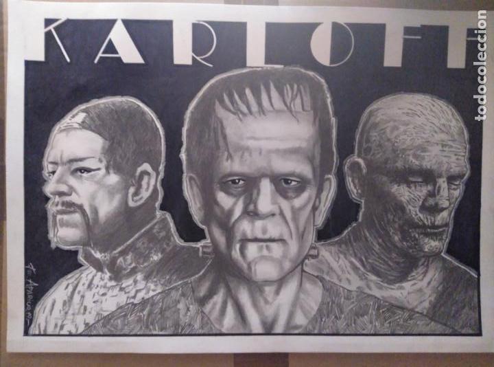 KARLOFF - DIBUJO ORIGINAL A GRAFITO, FIRMADO. 42X30 CM. (A3). (Cine - Fotos y Postales de Actores y Actrices)