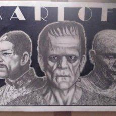 Cine: KARLOFF - DIBUJO ORIGINAL A GRAFITO, FIRMADO. 42X30 CM. (A3).. Lote 162710370
