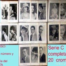 Cine: GLORIAS DEL CINE -SERIE C COLECCION COMPLETA 20 CROMOS ANTIGUOS. AÑOS 20.MED: 11X7,5 CM.. Lote 165128526