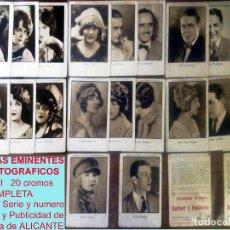 Cine: SERIE COMPLETA 20 CROMOS DE ARTISTAS EMINENTES CINEMATOGRAFICOS,SERIE VIII.AÑOS 20 CINE MUDO,8 X 12 . Lote 165131930