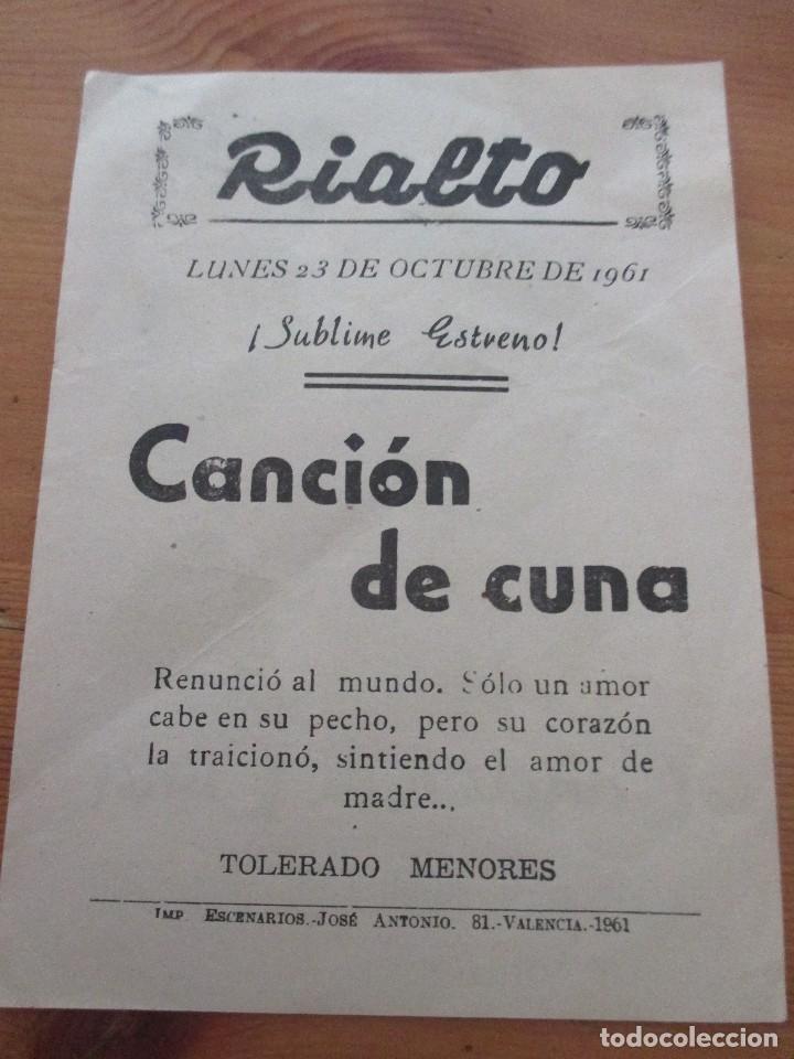 Cine: CANCIÓN DE CUNA RIALTO VALENCIA 1961 - Foto 2 - 165246066