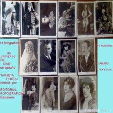 Cine: LOTE DE 14 FOTOGRAFIAS POSTALES DE ARTISTAS DEL CINE- 6 DE RODOLFO VALENTINO, AÑOS 30.NUEVAS,14 X 9. Lote 165406242