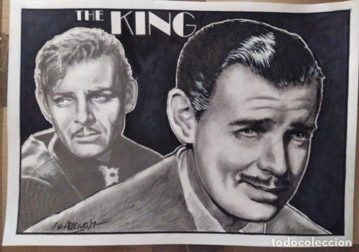 THE KING - DIBUJO ORIGINAL A GRAFITO Y CARBON, FIRMADO. 42X30 CM. (A3). (Cine - Fotos y Postales de Actores y Actrices)