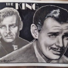 Cine: THE KING - DIBUJO ORIGINAL A GRAFITO Y CARBON, FIRMADO. 42X30 CM. (A3).. Lote 165616586