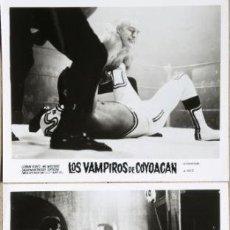 Cine: 2 FOTOGRAFÍAS PROMOCIONALES DE LOS VAMPIROS DE COYOACAN - GERMÁN ROBLES, MIL MÁSCARAS, SUPERZÁN,.... Lote 166308958