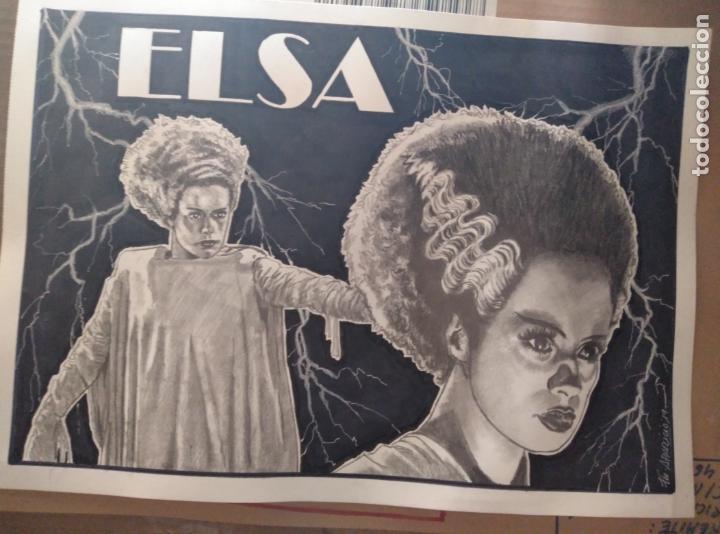 OFERTA!! - ELSA - DIBUJO ORIGINAL A GRAFITO, FIRMADO. 42X30 CM. (A3). (Cine - Fotos y Postales de Actores y Actrices)