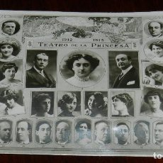 Cine: POSTAL FOTOGRAFICA DEL TEATRO DE LA PRINCESA, MADRID, AÑO 1912-1913, CON FOTOGRAFIA DE TODO EL ELENC. Lote 169518868