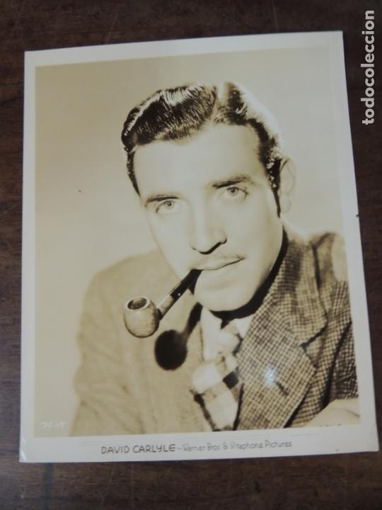 DAVID CARLYLE - FOTO ORIGINAL B/N - HOLLYWOOD STAR SMOKING PIPE (Cine - Fotos, Fotocromos y Postales de Películas)